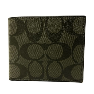 COACH 經典C LOGO PVC皮革6卡照片證件對折輕便短夾(橄欖綠)