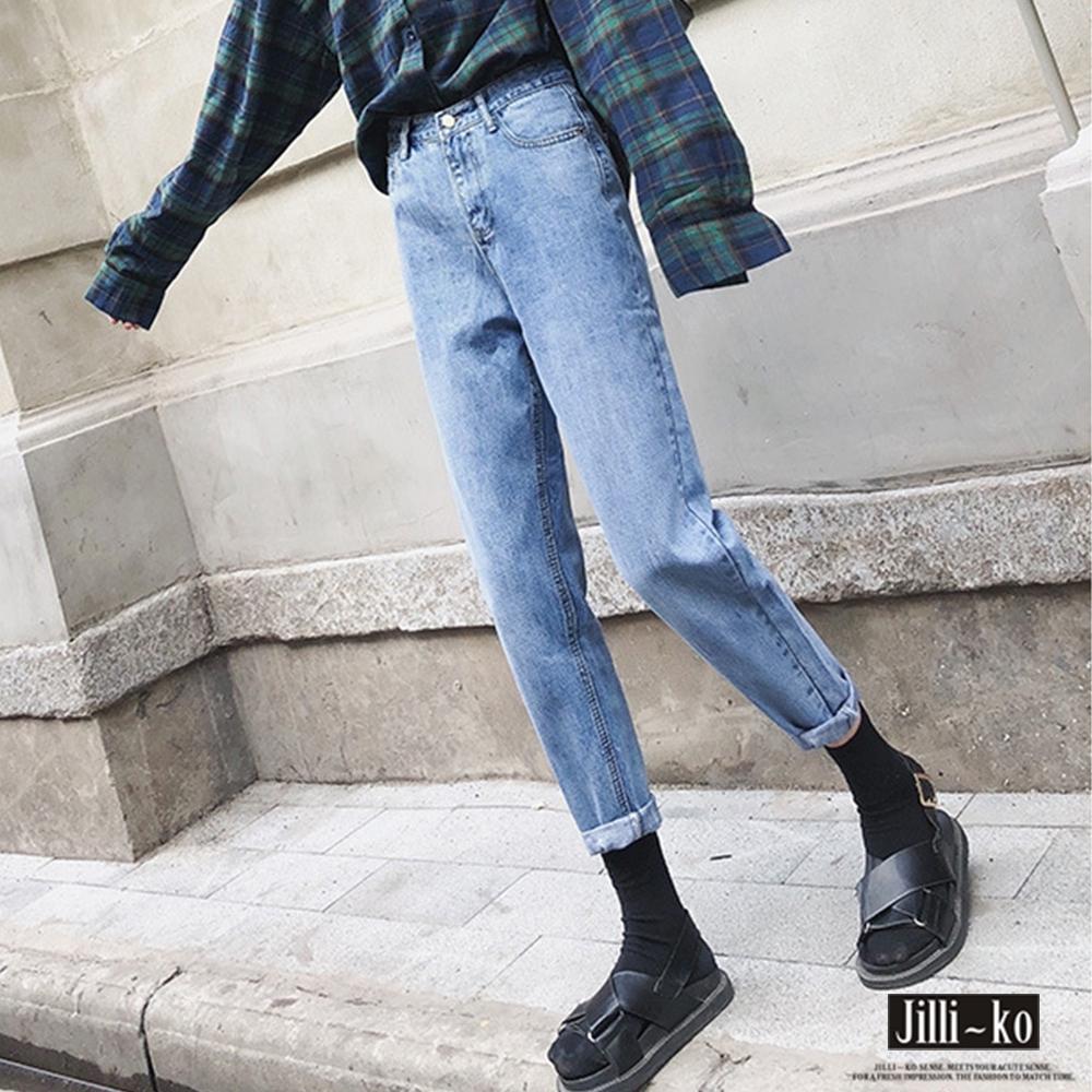 JILLI-KO 復古刷色丹寧哈倫褲- 淺藍
