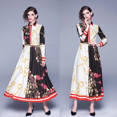 【KEITH-WILL】好感風格色塊拼接修身洋裝-1色