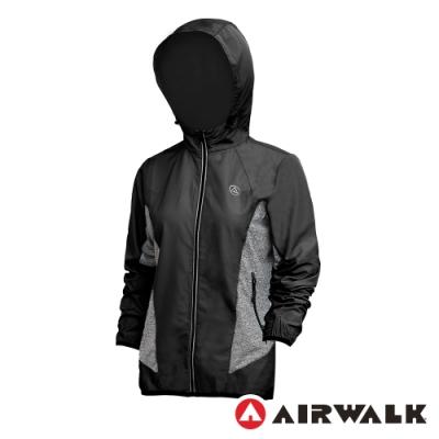 【AIRWALK】拼接連帽外套-女-黑