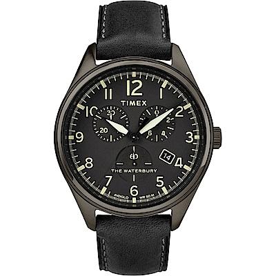 TIMEX 天美時 Waterbury Chrono系列 計時經典手錶-黑/42mm