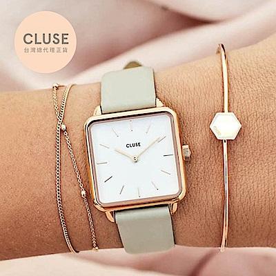 CLUSE LA GARCONNE 方框系列腕錶 (玫瑰金框/白面/裸灰錶帶)