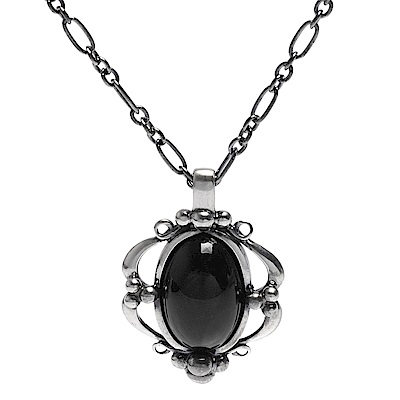 GEORG JENSEN 經典Heritage系列925氧化純銀黑瑪瑙鑲嵌項鍊