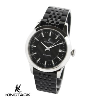 KINGTAGK 典雅品味時尚簡約機械腕錶-銀黑