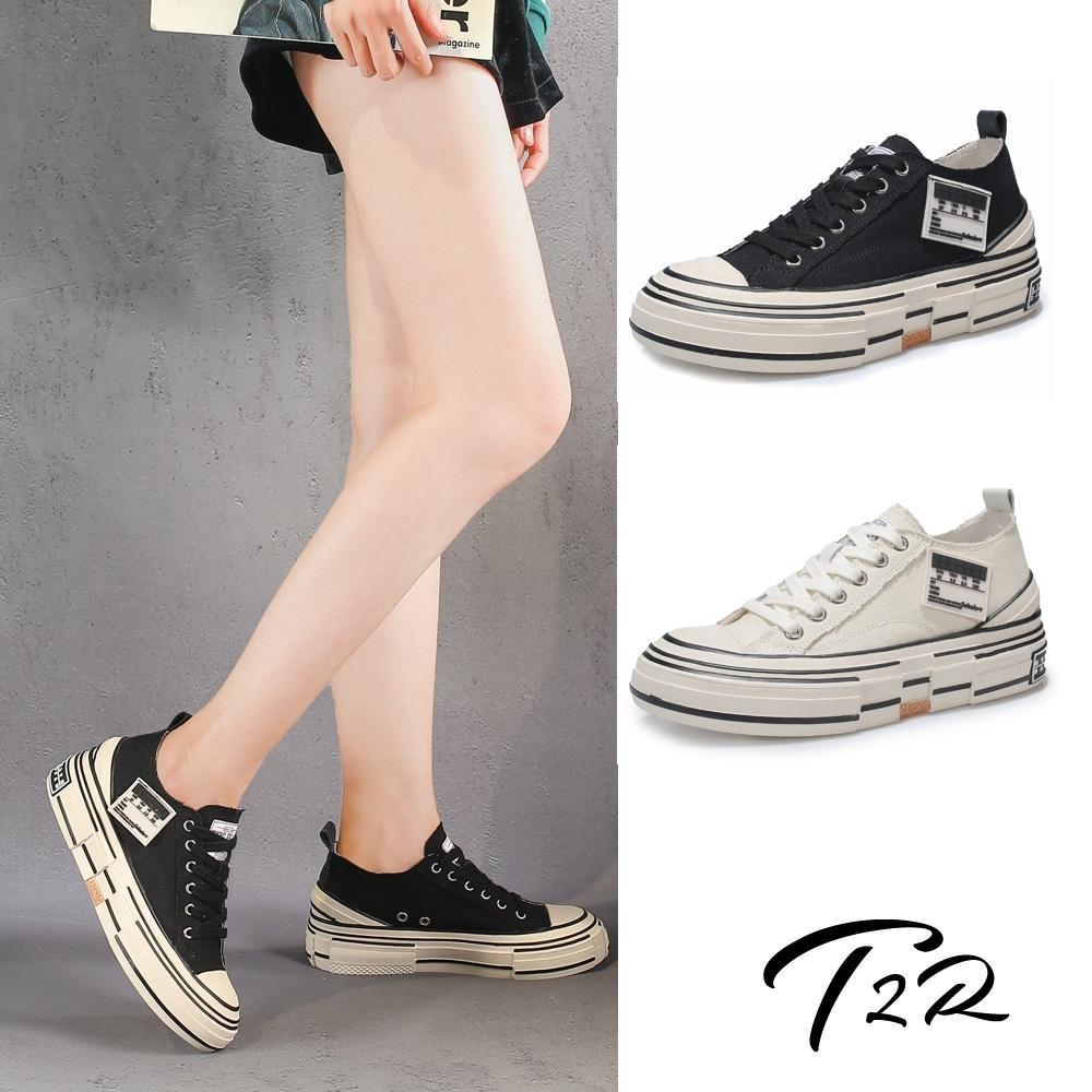 T2R-正韓空運-增高鞋不規則設計帆布鞋小白鞋隱形增高鞋-增高6公分-黑/白