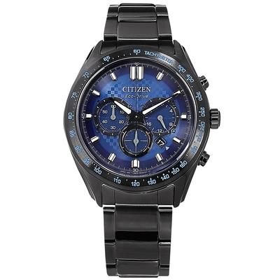 CITIZEN 光動能 三眼計時 日期 防水100米 不鏽鋼手錶-藍x鍍黑/43mm
