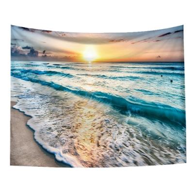 半島良品 北歐風裝飾掛布-沙灘系列/沙灘落日 150x130cm
