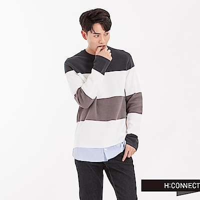 H:CONNECT 韓國品牌 男裝 - 條紋假兩件針織襯衫-橄欖