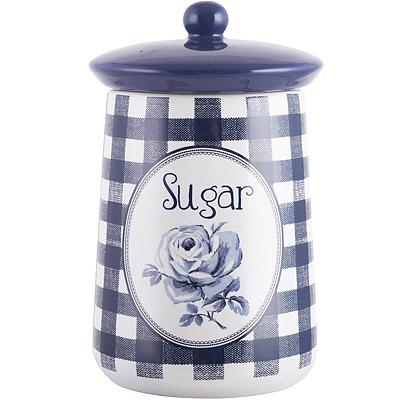 CreativeTops Katie復古藍糖陶製密封罐(藍格)