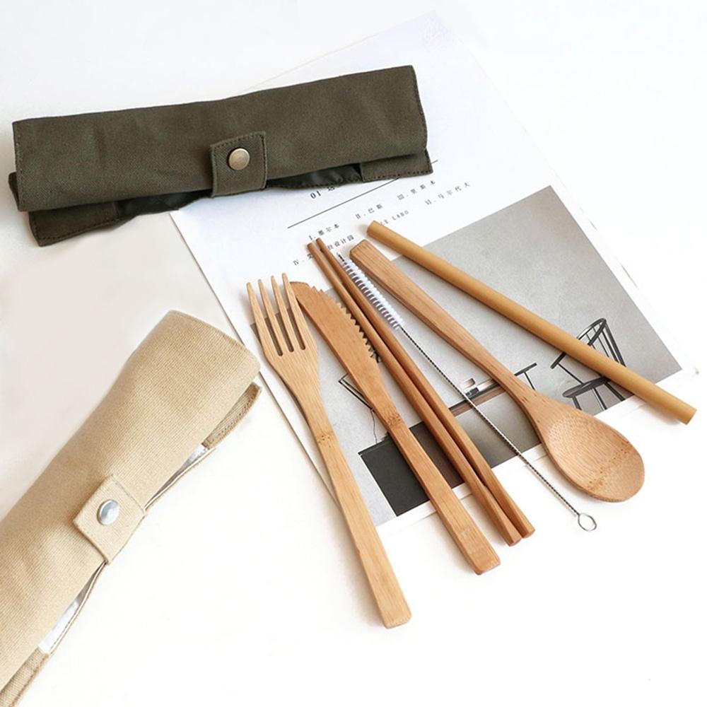 【Homely Zakka】日式便攜木質餐具套裝7件組_墨綠色