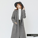 H:CONNECT 韓國品牌 女裝 -排扣格紋毛呢大衣-灰(快)