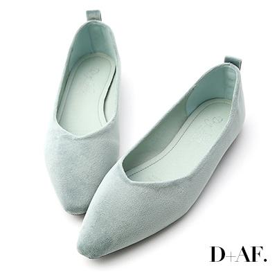 D+AF 粉彩調性.尖頭V口絨質平底便鞋*綠