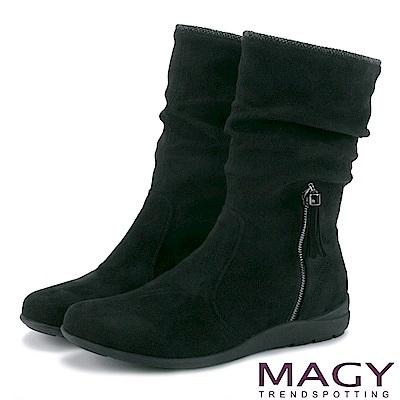 MAGY 暖冬時尚 2WAY抓皺絨布素面百搭中筒靴-黑色