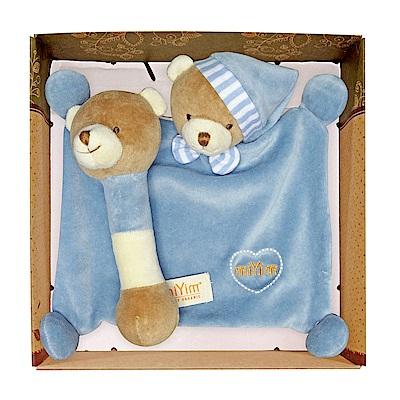 miYim有機棉晚安小熊禮盒(安撫巾+手搖鈴) 藍色