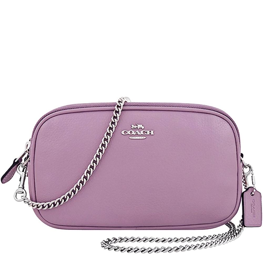 COACH 薰衣草紫色荔枝紋皮革鍊帶雙層斜背包