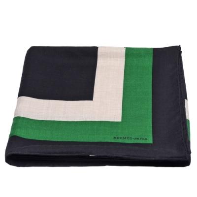HERMES ouble Encadre方型線條簡約圖騰喀什米爾披肩/方巾(黑/綠/米)