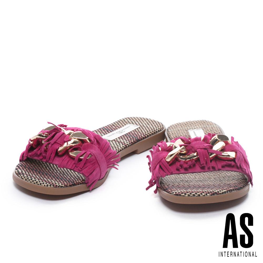 拖鞋 AS 復古流蘇鍊條飾釦羊麂皮編織低跟拖鞋-桃紅