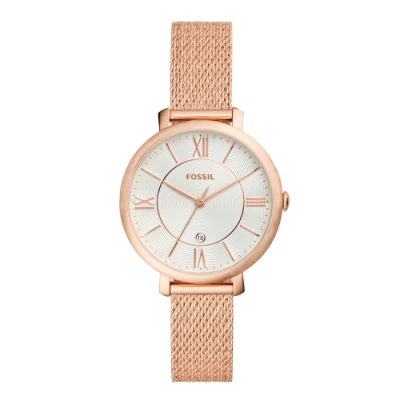 FOSSIL 極簡精緻米蘭腕錶-玫瑰金(ES4352)/36mm