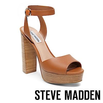 STEVE MADDEN-MADELINE復古性感魚口真皮粗跟涼鞋-咖啡色