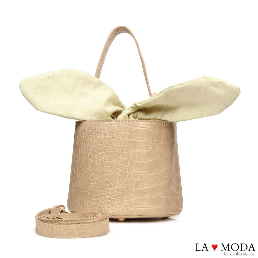 La Moda 創意滿點超CUTE大耳朵設計蛇紋壓紋面料肩背桶包(杏)