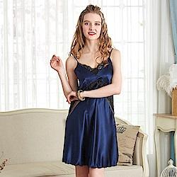睡衣 彈力珍珠絲質性感連身睡衣 典雅奢華(R86016-10藍)蕾妮塔塔