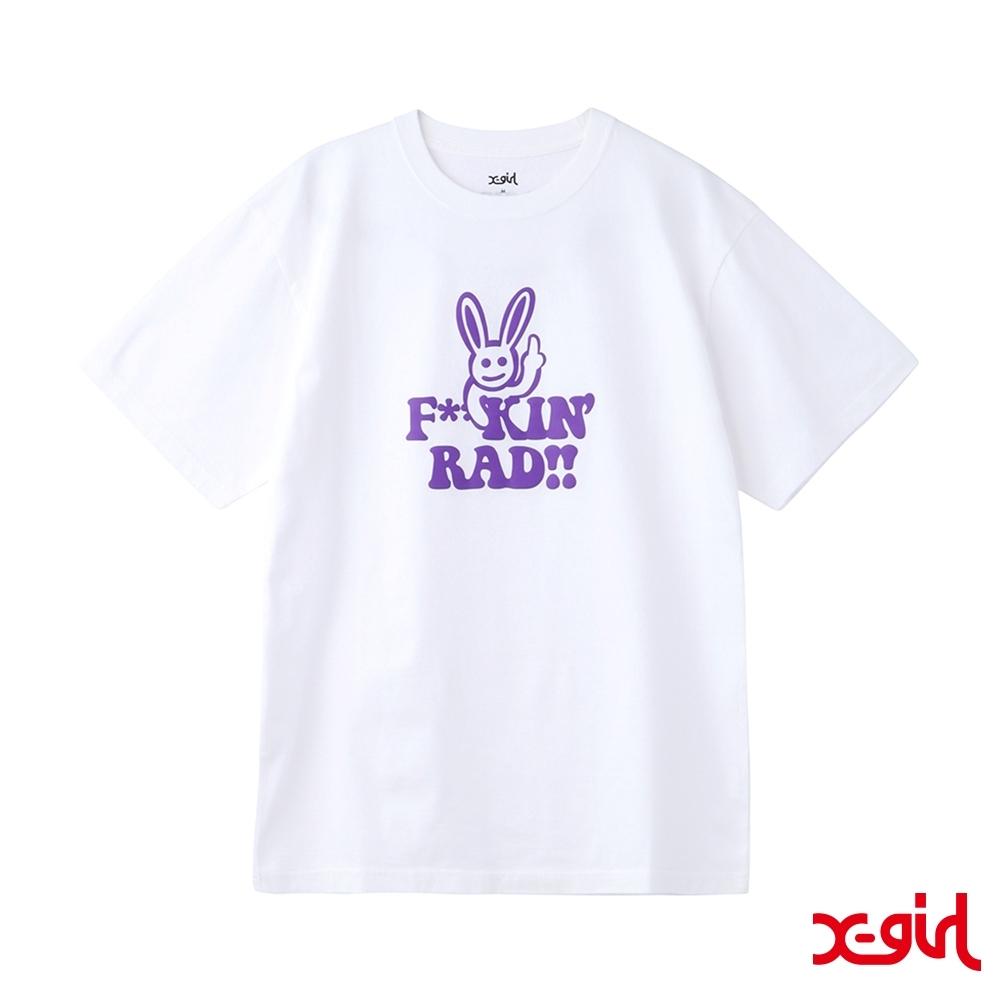 X-girl RAD BUNNY S/S TEE兔子短T-白