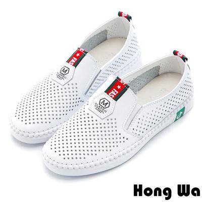 Hong Wa 聖誕緞帶風透氣沖孔牛皮樂福鞋 - 白
