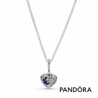 【Pandora官方直營】璀璨藍月與星心形項鏈