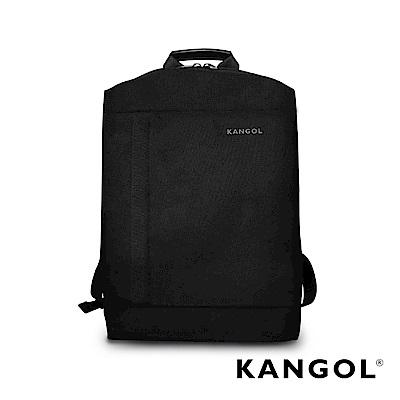 KANGOL 韓國IT男爵系列-金屬釦抓皺設計防潑水男女休閒機能後背包-混織黑