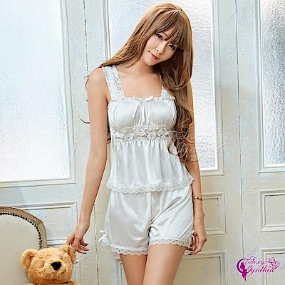 Sexy Cynthia性感睡衣 甜美居家風純白柔緞蕾絲上衣短褲二件組-白F
