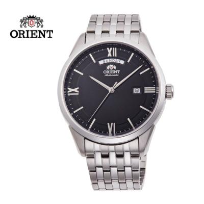 ORIENT 東方錶 WILD CALENDAR 系列 現代簡約機械腕錶 鋼帶款 黑色 RA-AX0003B