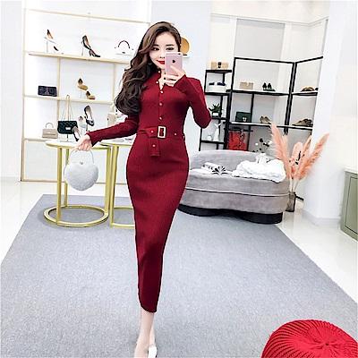 DABI 韓系針織高腰純色氣質長裙長袖洋裝