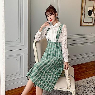 DABI 韓系蝴蝶結蕾絲襯衫上衣格紋裙套裝長袖裙裝