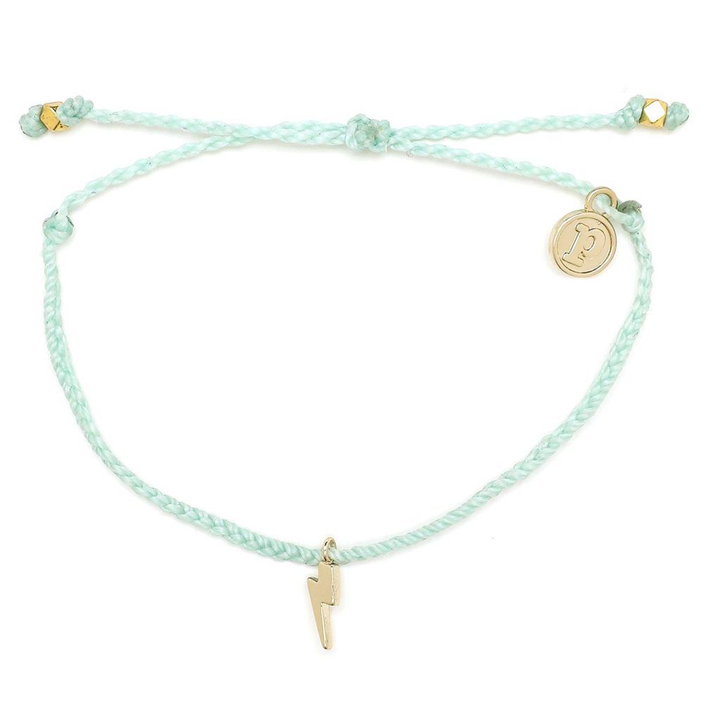 Pura Vida 美國手工 金色閃電 水藍綠臘線衝浪手鍊手環
