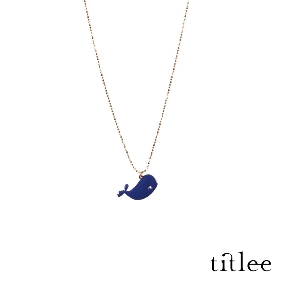 法國巴黎 titlee 童話鯨魚質感琺瑯吊墜項鍊