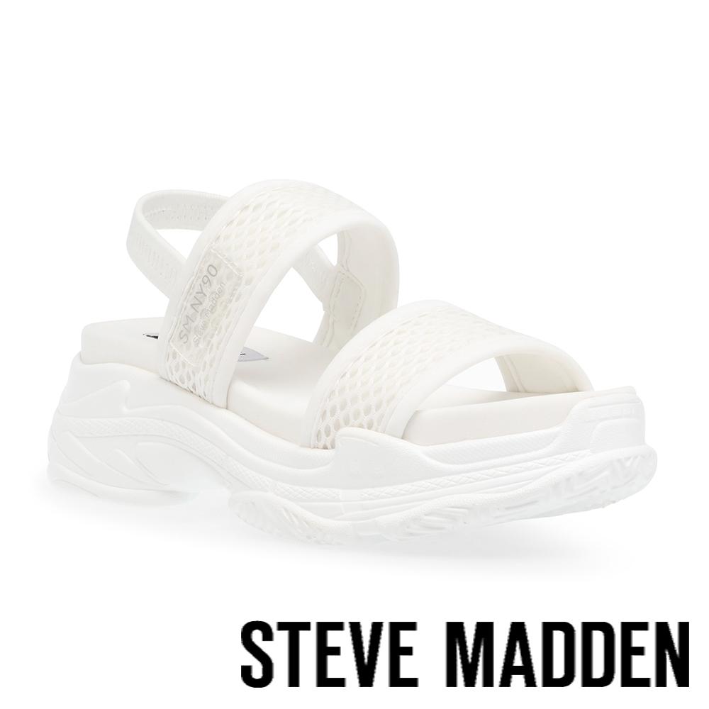 STEVE MADDEN-SAMURAI 彈性厚底透氣休閒涼鞋-白色