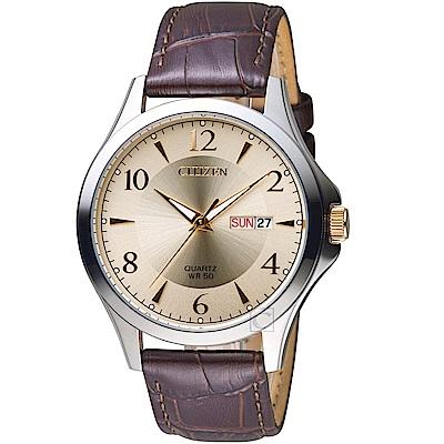 CITIZEN星辰經典雅痞時尚腕錶(BF2009-29X)-香檳色