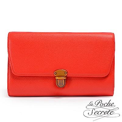 La Poche Secrete斜背包 簡約真皮荔枝紋隨身側背斜背包-澄紅色