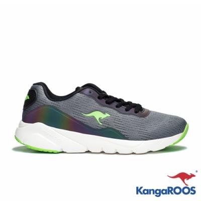 KangaROOS 美國袋鼠鞋 男 RUN SWIFT 科技幻彩跑鞋(灰/綠)