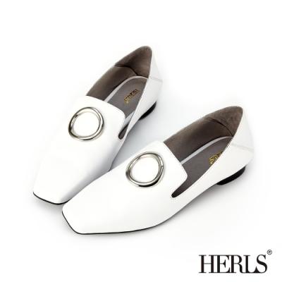 HERLS 簡約洗鍊 全真皮圓釦小方頭樂福鞋-白色