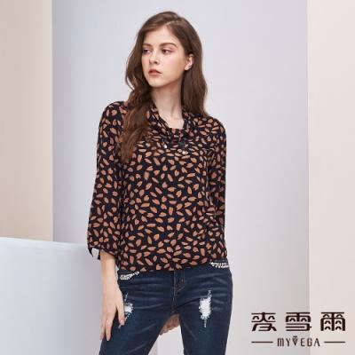 【麥雪爾】打摺領巾櫻花花瓣絲質上衣
