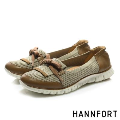HANNFORT ZERO GRAVITY 輕量針織羊皮淺口休閒鞋-女-咖