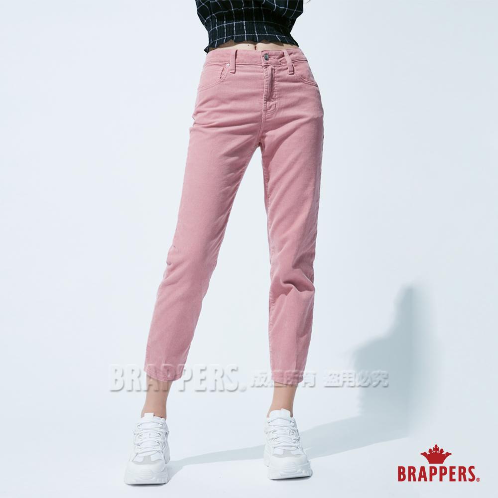 BRAPPERS 女款 Boy friend系列-中高腰條絨直筒褲-粉