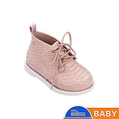 Melissa+Baja East 蟒蛇凸紋質低筒靴-寶寶款-粉