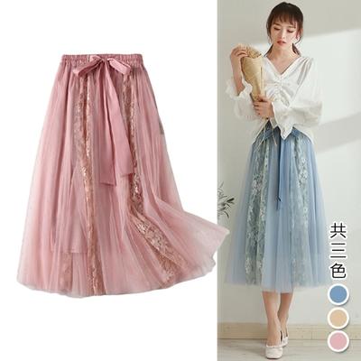 【韓國K.W.】(預購) 輕美學天使誘惑百褶網紗裙(共3色)