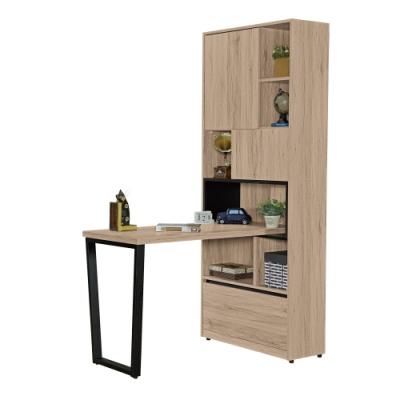 文創集 納多德 現代4尺二門單抽書桌+書櫃組合-120x80x197cm免組