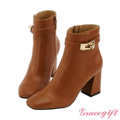 Grace gift X Wei-聯名方頭鎖釦高跟短靴 棕