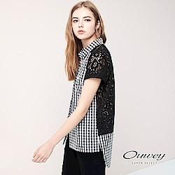 OUWEY歐薇 蕾絲拼接格紋寬鬆襯衫(黑)