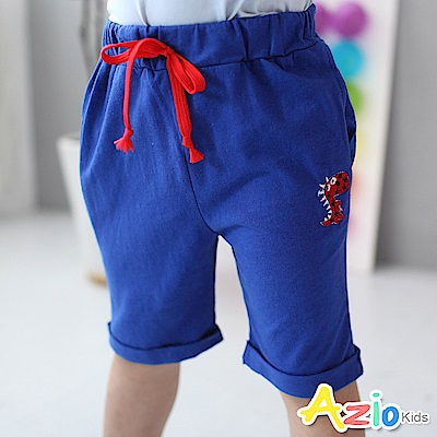 Azio Kids 短褲 星星恐龍配色綁帶短褲(藍)