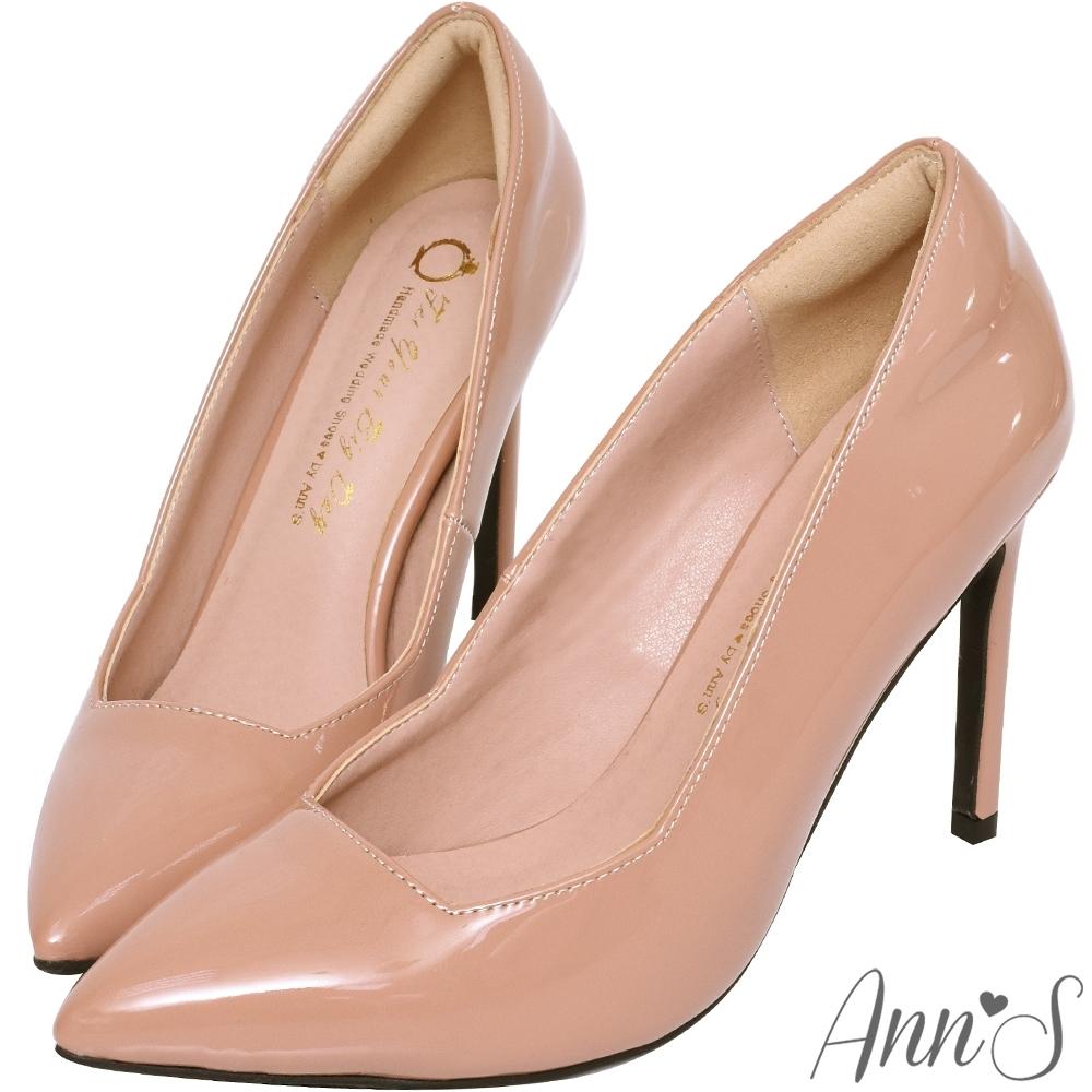 Ann'S俐落美型-質感素面漆皮光感高跟尖頭鞋-粉